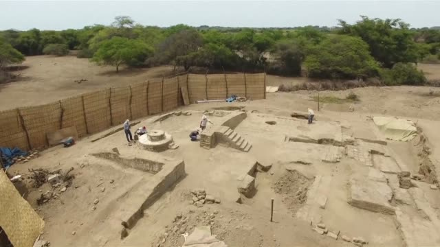 peruvians archaeologists have discovered a 1700 year old ceremonial area in a moche archaeological complex near mocupe in northern peru - peruvian ethnicity stock videos & royalty-free footage