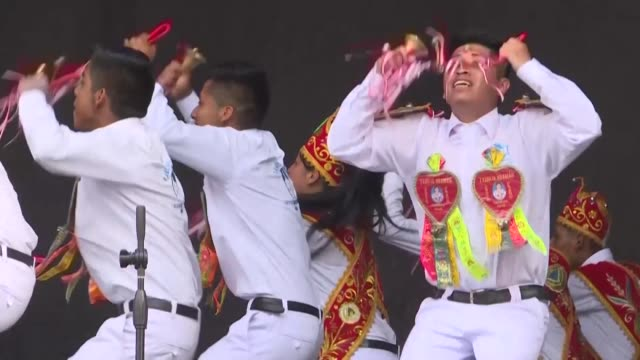 peruvians perform the hatajo de negritos an expression featuring music and singing after it was inscribed on the representative list of the... - peruvian ethnicity stock videos & royalty-free footage