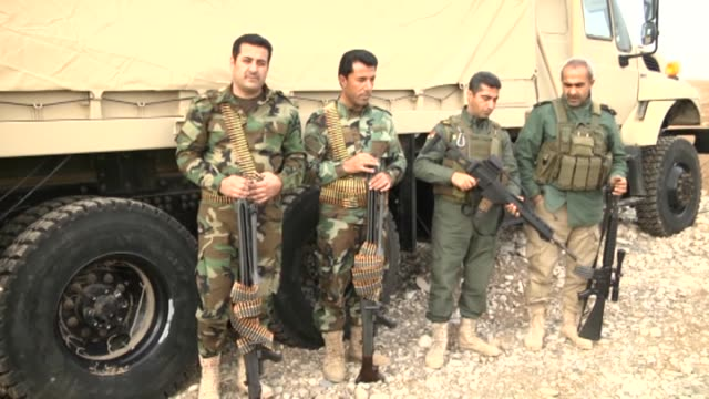 peshmerga forces, the armed force of the iraqi kurdish regional government , take position and stand guard with the new heavy weaponry sent by... - other stock videos & royalty-free footage