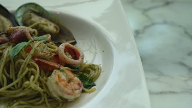 pesto spicy seafood - scampi seafood stock videos and b-roll footage