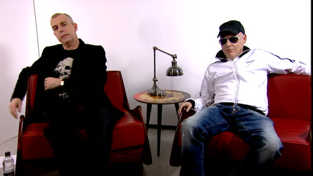 pet shop boys interview; - on writing song for 'girls aloud' / classic british girl band - on shows like x-factor - will young has taken over his own... - gioco televisivo video stock e b–roll