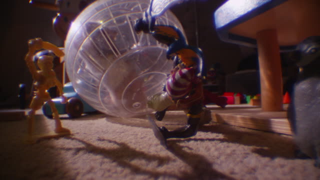 vídeos y material grabado en eventos de stock de ms pet syrian hamster rolls exercise ball to camera and knocks down toys in childs dark bedroom - hamster