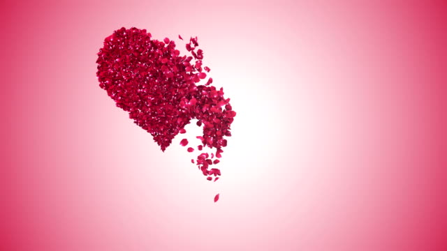 Petals in heart shape falling pink background