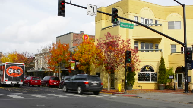 Petaluma California downtown at Petaluma Blvd and Western Ave with traffic and cars