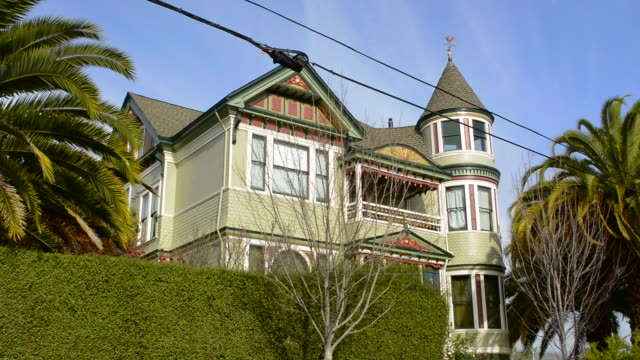 Petaluma California old Victorian home with stained glass and green colors