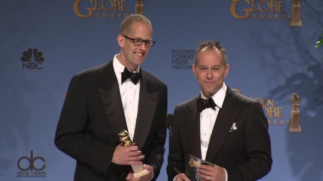 pete docter and jonas rivera at the 3rd annual golden globe awards - press room at the beverly hilton hotel on january 10, 2016 in beverly hills,... - the beverly hilton hotel stock videos & royalty-free footage