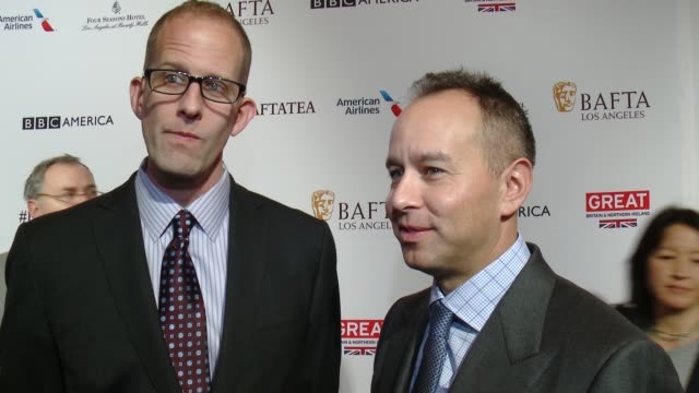 vídeos de stock, filmes e b-roll de interview pete doctor and jonas rivera on being at the event and on the film 'inside out' at the bafta los angeles awards season tea party at four... - tea party