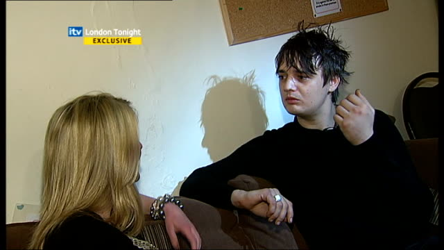 pete doherty interview; england: london: int pete doherty interview sot - are you sure you've got the right bloke, i mean this is the news isn't it?... - itv london tonight stock-videos und b-roll-filmmaterial