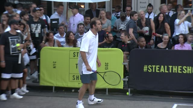 pete sampras at nike's nyc street tennis event at tbd on august 24 2015 in new york city - pete sampras stock videos & royalty-free footage