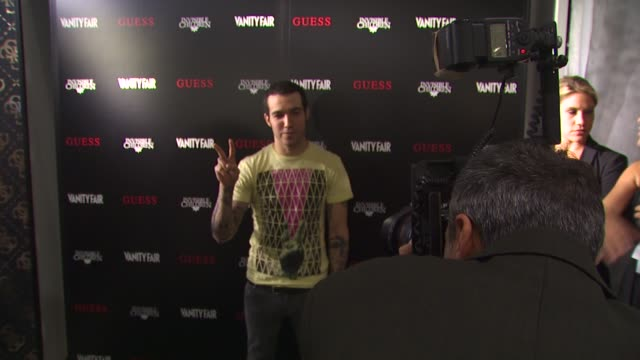 pete wentz at the guess vanity fair tshirt launch event to benefit invisible children at beverly hills ca - vanity fair stock videos and b-roll footage