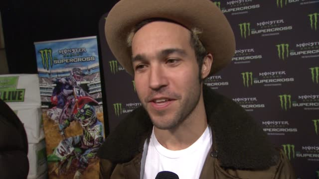 pete wentz on being at the event, why his kid enjoys it, and if he ever rides at monster energy supercross celebrity night at angel stadium of... - angel stadium stock videos & royalty-free footage