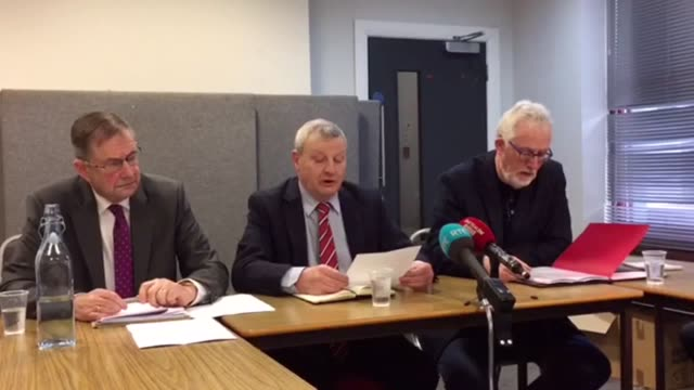Peter Bunting veteran trade unionist reads a statement from dissident republican group Oglaigh na hEireann declaring a ceasefire He is accompanied by...