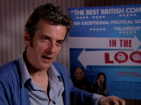 peter capaldi on his favourite line in the movie at the in the loop interviews at london - in the loop 2009 film stock videos and b-roll footage