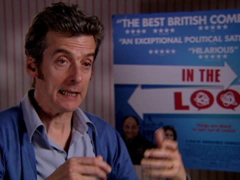 peter capaldi on how accurate the movie is regarding what happens in politics at the in the loop interviews at london - in the loop 2009 film stock videos and b-roll footage