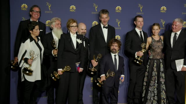 Peter Dinklage Emilia Clarke Gwendoline Christie Kit Harington and 'Game of Thrones' at the 70th Emmy Awards Photo Room at Microsoft Theater on...
