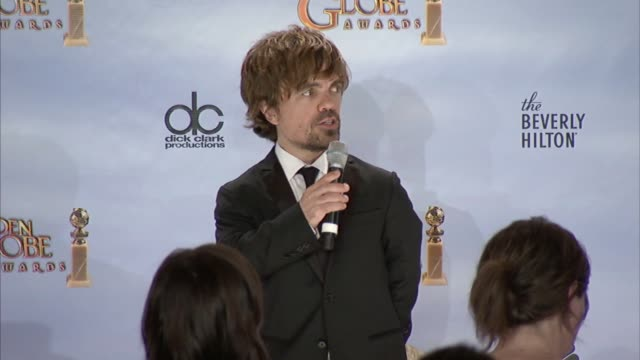Peter Dinklage on how he feels about winning for the character he portrayed at 69th Annual Golden Globe Awards Press Room on 1/15/2012 in Beverly...