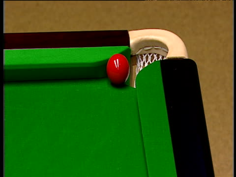 peter ebdon attempts thin cut on red but leaves it right over pocket for graeme dott to pot as his father watches backstage world snooker... - world championship stock videos and b-roll footage
