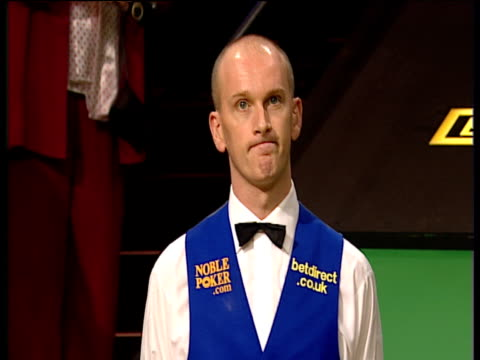 peter ebdon collects runner's up cheque for ú100000 following his defeat to graeme dott world snooker championship final crucible theatre sheffield... - world championship stock videos & royalty-free footage