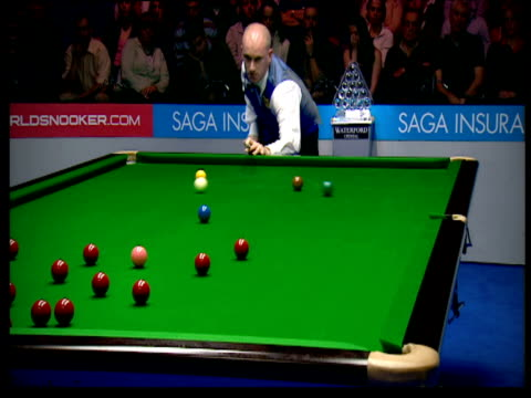 Peter Ebdon completely miscues shot into brown and leans over to check mark on table The Masters Wembley Conference Centre London Jan 07