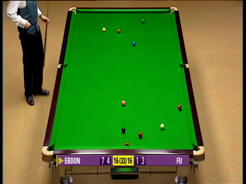 vídeos de stock, filmes e b-roll de peter ebdon is almost overcome with emotion as he closes out deciding frame against marco fu, world snooker championship semi final, crucible... - gravata borboleta