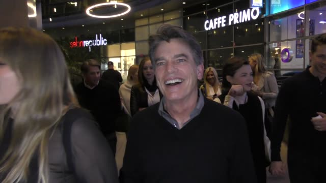 vídeos de stock, filmes e b-roll de interview peter gallagher comments on the return of the oc as he leaves the female brain premiere at arclight cinemas in hollywood in celebrity... - cinemas arclight hollywood