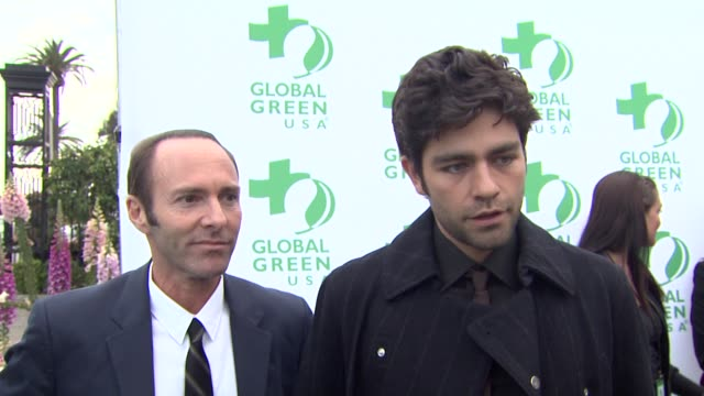 peter glatzer and adrian grenier on what they appreciate most about global green, what first made them care about protecting the environment, what... - made in usa点の映像素材/bロール