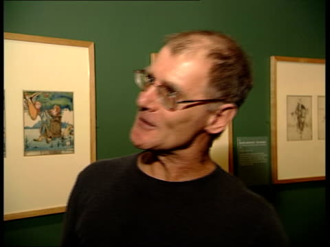 exhibition peter higginson interview sot he mocked any kind of standing on ceremony/ he would come down to breakfast with lampshade on head/ when art... - lamp shade stock videos and b-roll footage