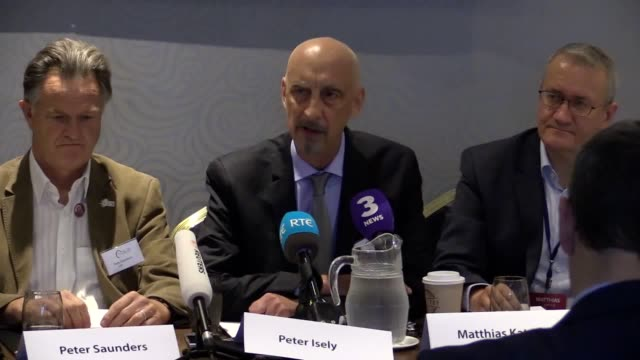 peter isely and peter saunders speak during an ending clerical abuse press conference at the ballsbridge hotel in dublin ahead of the visit to... - catholicism stock videos & royalty-free footage