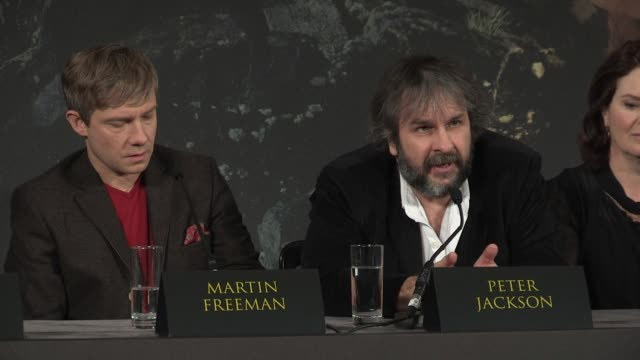 peter jackson at 'the hobbit' uk press conference peter jackson on securing martin freeman at claridges hotel on december 11 2012 in london england - martin freeman stock videos and b-roll footage