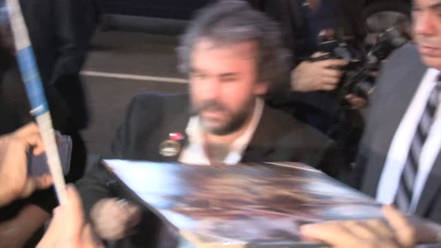 peter jackson greets fans at the hobbit the battle of the five armies premiere in hollywood in celebrity sightings in los angeles, - the hobbit: the battle of the five armies stock videos & royalty-free footage
