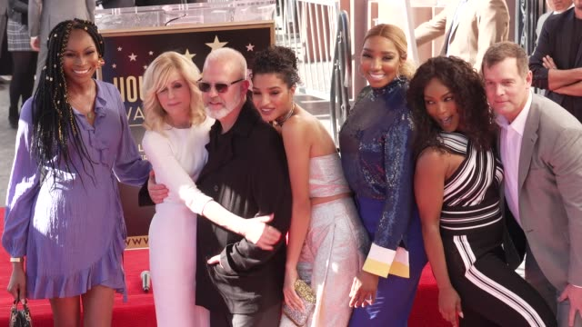 peter krause, ryan murphy, judith light, angela bassett, and nene leakes at the ryan murphy honored with a star on the hollywood walk of fame on... - angela bassett stock videos & royalty-free footage