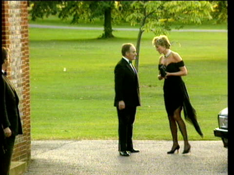 peter palumbo greets princess diana as she arrives at a charity event at the serpentine gallery 29 jun 94 - dress stock videos & royalty-free footage