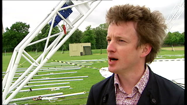 peter pan to be performed at kensington gardens ext various shots of workmen preparing to erect the theatre pavilion ben harrison interview sot talks... - pavilion stock videos and b-roll footage