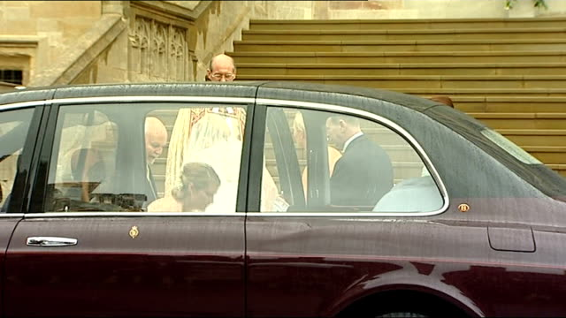 arrivals and photocalls after ceremony england berkshire windsor ext bride autumn kelly arrives at st george's chapel with her father brian kelly for... - st. george's chapel stock videos and b-roll footage