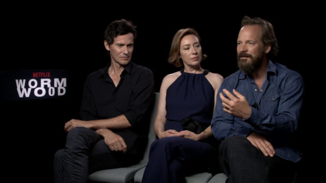 peter sarsgaard, molly parket, christian camargo on on the viewpoint of the us goverment at that time the film is set at 'wormwood' interviews - 74th... - 第74回ベネチア国際映画祭点の映像素材/bロール