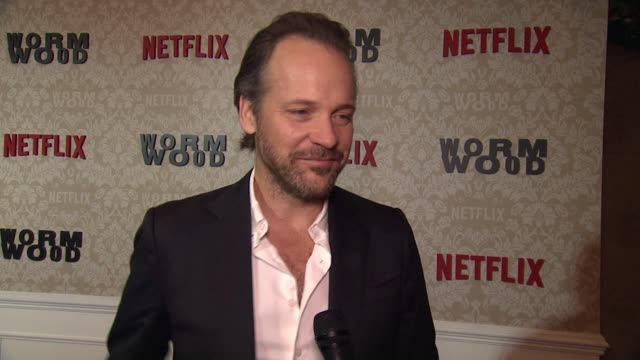 """vídeos y material grabado en eventos de stock de peter sarsgaard on his character and the new film at """"wormwood"""" launch event at the campbell on december 12, 2017 in new york city. - peter sarsgaard"""