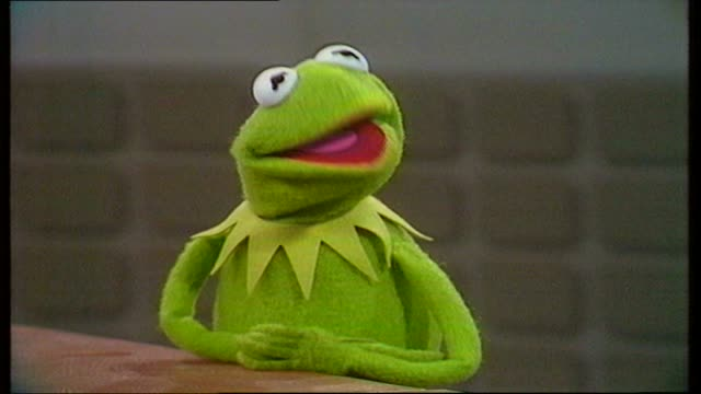 peter sissons interviews kermit the frog on new movie; england: itn studio: kermit sof: 'oh well, i don't know ................................. see... - ピーター・シソンズ点の映像素材/bロール