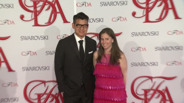 peter som and guest at 2012 cfda fashion awards arrivals on 6/04/2012 in new york ny united states - peter som marchio di design video stock e b–roll