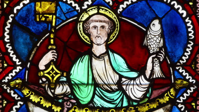 peter the apostle on gothic stained glass window - bible stock videos & royalty-free footage