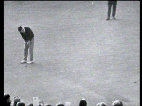 peter thompson pushes his putt left of hole to give gary player victory in world matchplay championship final wentworth 1965 - pga world golf championship stock videos & royalty-free footage