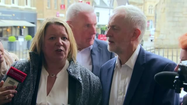 labour wins seat england cambridgeshire peterborough ext lisa forbes mp speaking to press sot jeremy corbyn mp speaking to press sot media... - nachwahl stock-videos und b-roll-filmmaterial
