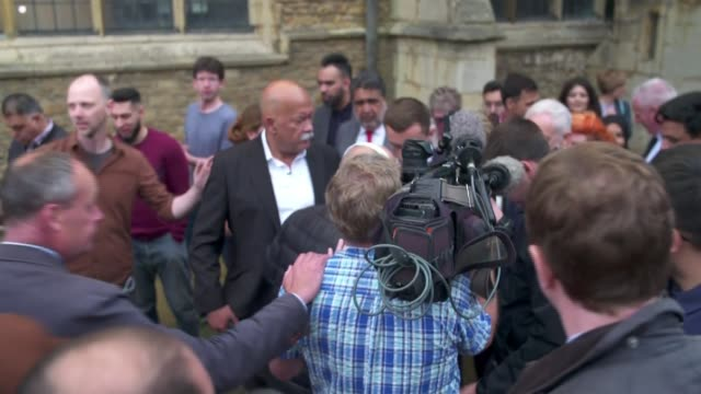 labour wins seat lisa forbes and jeremy corbyn cutaways england cambridgeshire peterborough ext lisa forbes mp and jeremy corbyn mp departing through... - nachwahl stock-videos und b-roll-filmmaterial