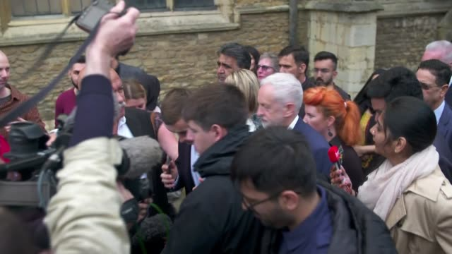 labour wins seat uk peterborough jeremy corbyn mp along with lisa forbes mp jeremy corbyn mp addressing crowd nigel farage mep interview england... - mep stock-videos und b-roll-filmmaterial