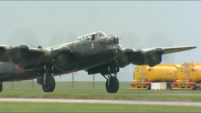wwii petition calls for last surviving british dambuster to be knighted tx lincolnshire raf scampton ext **music heard sot** lancaster bomber... - lancaster bomber stock videos & royalty-free footage