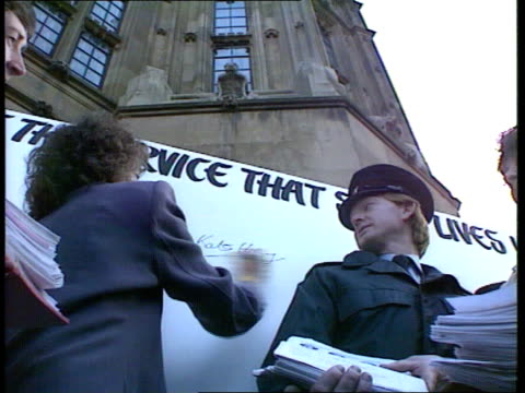 Petition for new emergency services proposals ENGLAND London Westminster Islington S Finsbury and Kate Hoey and other by banner 'Save the Service...