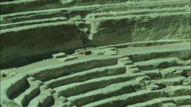 petra archaeological site and amphitheatre, steps and columns, jordan - アラバ砂漠点の映像素材/bロール
