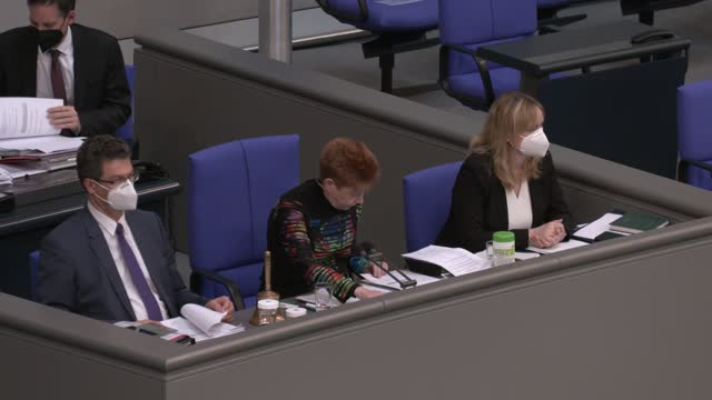 petra pau, vice president of the bundestag, announces a part of the voting result after final debates and a vote on a series of new measures to rein... - bridle stock videos & royalty-free footage