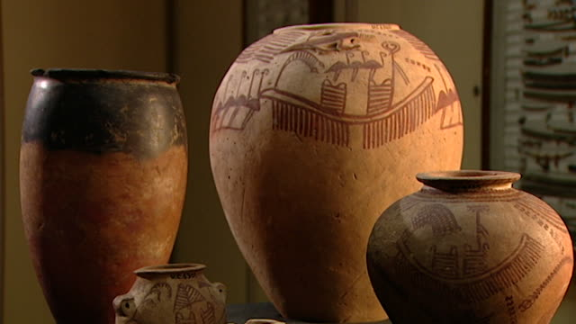 petrie museum. view of three predynastic ancient egyptian pots. - pottery stock videos & royalty-free footage