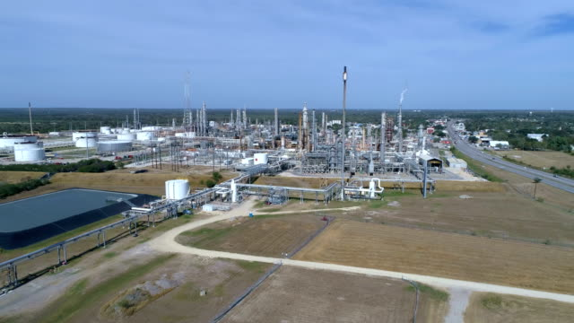Petrochemical Oil Refinery near Corpus Christi , Texas , USA aerial drone view