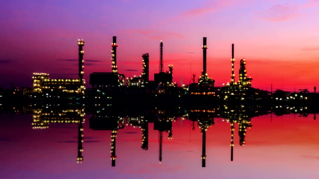 petrochemical oil refinery plant with reflection on the river